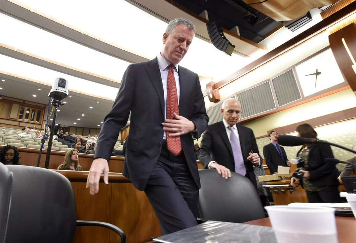 New York Mayor Bill de Blasio arrives to address a joint Senate and Assembly committee weighing Gov. Andrew Cuomo's budget proposal for the coming fiscal year. (Skip Dickstein / Times Union)