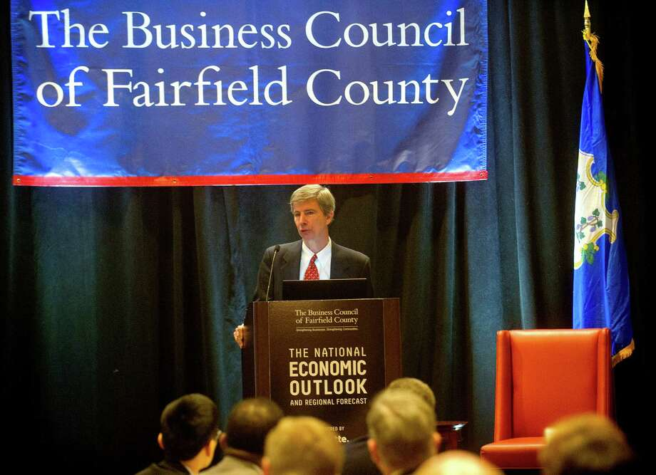 Joe Tracy of the Federal Reserve Bank of New York speaks during the National Economic Outlook hosted by the Business Council of Fairfield County at the Marriott Hotel and Spa in Stamford, Conn., on Wednesday, February 25, 2015. Photo: Lindsay Perry / Stamford Advocate