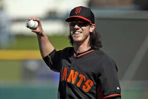 San Francisco Giants' Tim Lincecum during Spring Training in Scottsdale, Arizona, on Tuesday, February 24, 2015.