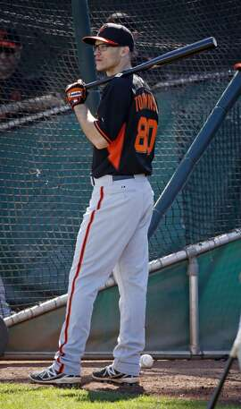 San Francisco Giants' Kelby Tomlinson during Spring Training in Scottsdale, Arizona, on Tuesday, February 24, 2015.