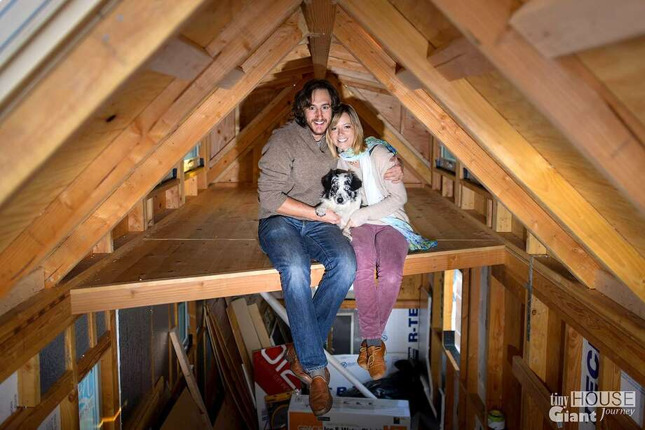 Meet Guillaume Dutilh and Jenna Spesard. For the past five months, the two have lived in a mobile tiny house of their own making and traveled through 25 states. Photo: (via Business Insider)