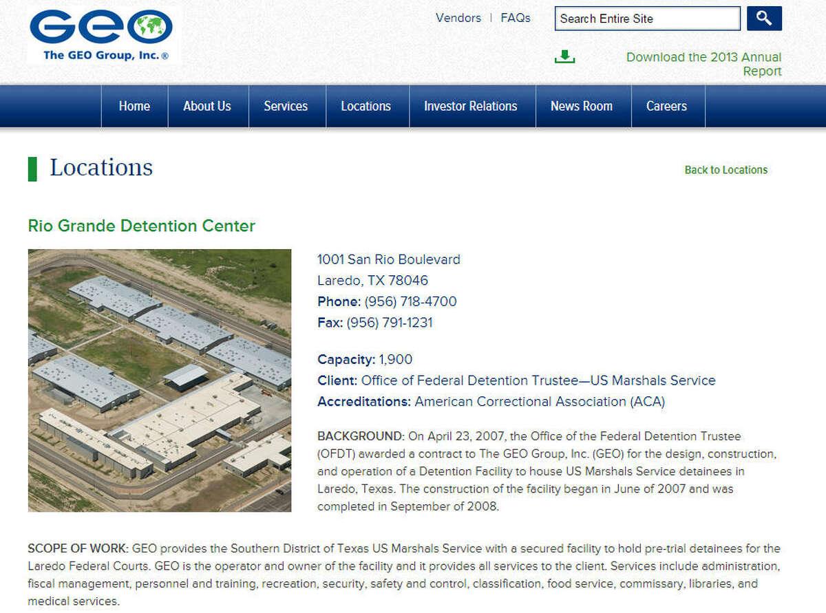 Rio Grande Detention Center City: Laredo Capacity: 1,344 Operating company: GEO Group