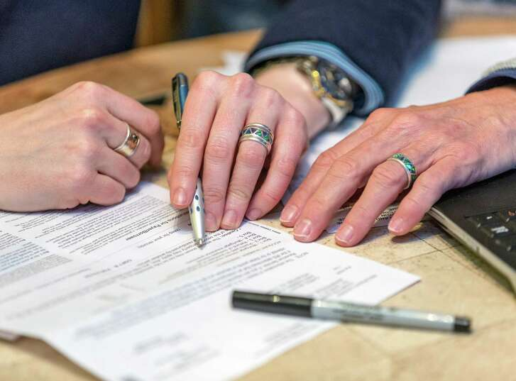 Sallie Woodell and Carol Wyatt are proponents of same-sex couples getting their paperwork together, such as wills, powers of attorney and other important end-of-life documents.  The couple will get married in Aspen this summer. L-R ID: Sallie Woodell and Carol Wyatt. Thursday  February 19, 2015 (Craig H. Hartley/For the Chronicle)
