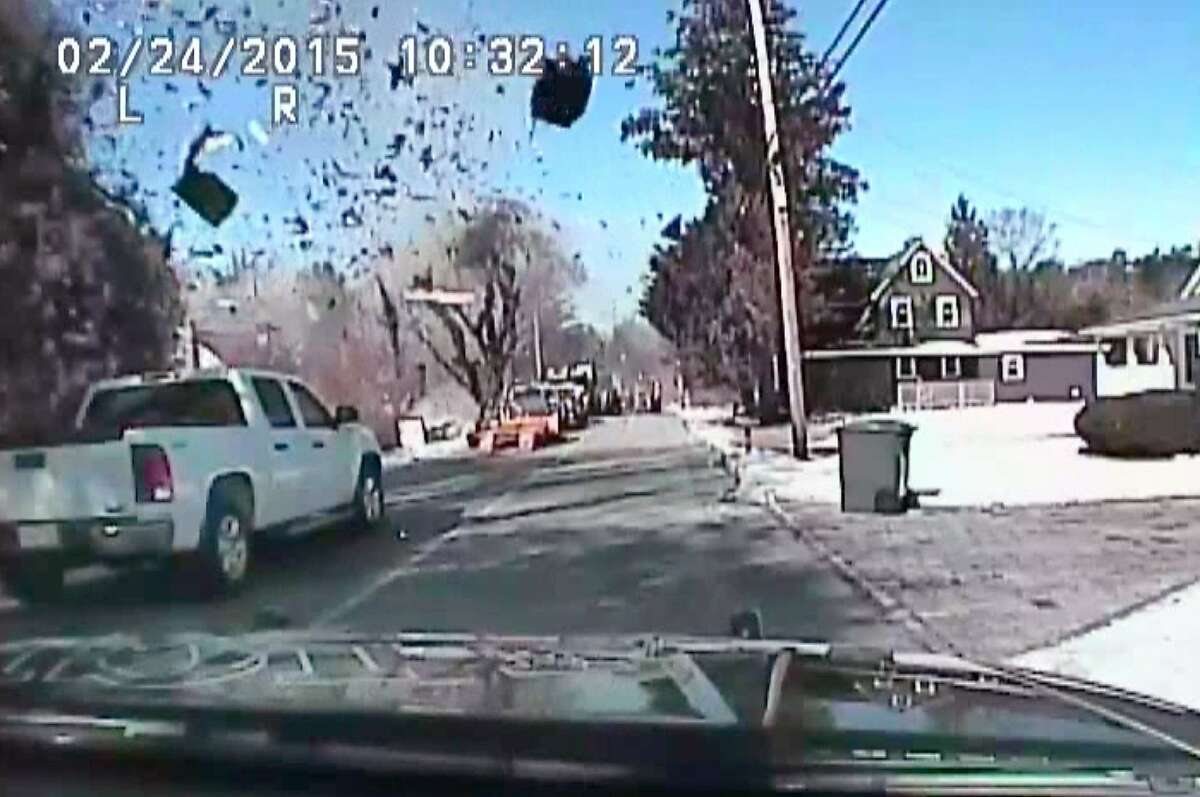 BLAST LEVELS HOUSE: A natural gas explosion disintegrates a home in Stafford Township, N.J., in this video image provided by police. Fifteen people, including firefighters, emergency medical technicians and gas company employees, were among those injured. Two remain hospitalized.