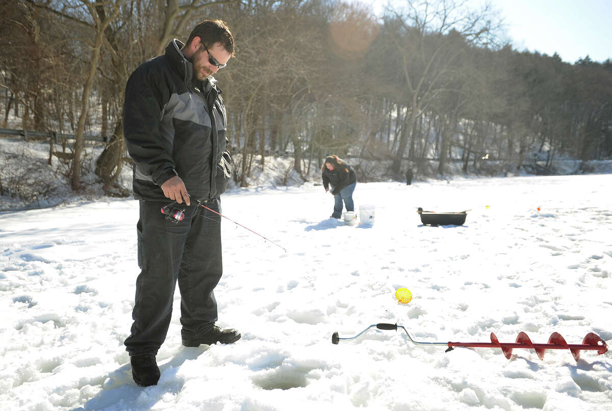James Mercier, of Manchester, and Shannon Mallette, of Shelton, take advantage of the warmer temperatures for a morning of ice fishing. EASTERN CONNECTICUT Bozrah - Gardner Lake Coventry -Coventry Lake Mansfield -Mansfield Hollow Reservoir Union - Mashapaug Pond, Bigelow Pond Voluntown - Pachaug Pond, Beach Pond