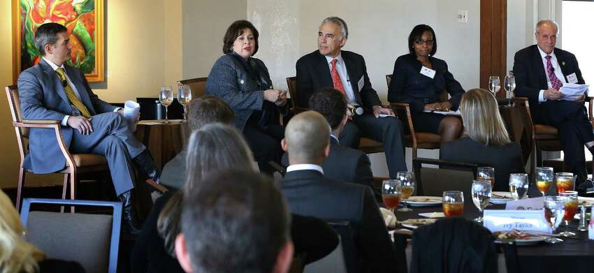 Mayoral candidates Mike Villarreal, Leticia Van de Putte, Ivy Tayor, and Tommy Adkisson debate at the 2015 San Antonio Mayoral Forum titled