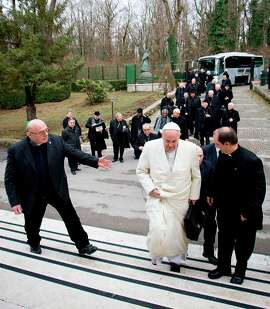 Pope Francis arrives Monday for his spiritual retreat with the Roman Curia in Ariccia, Italy. He does not plan to stop in California during his U.S. trip.