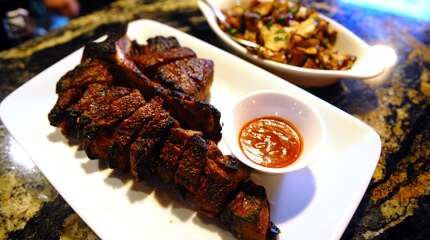 Michael Gennaro's Steakhouse - Fairfield    Pictured: 40 ounce Porterhouse steak for two with mushrooms.