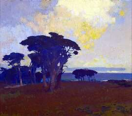 Arthur Mathews, creator of this scene of Monterey Bay, painted romantic scenes of nature