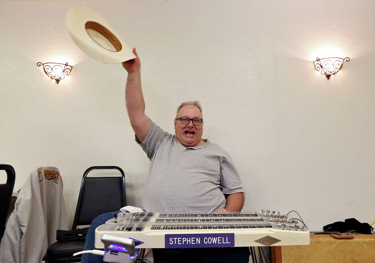 Stephen Cowell performs during the pedal steel guitar jam Feb. 8 at the American Legion Post 593.