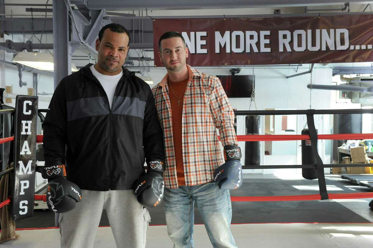 Fernely Felix, left, a former heavyweight box, and A.J. Galante have opened a new boxing gym at 128 East Liberty Street in Danbury, Conn. Monday, February 23, 2015.