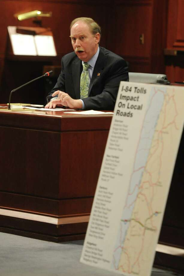 State Sen. Michael McLachlan speaks against tolls during the transportation committee public hearing regarding highway tolls at the Legislative Office Building in Hartford Wednesday. Photo: Tyler Sizemore / Greenwich Time
