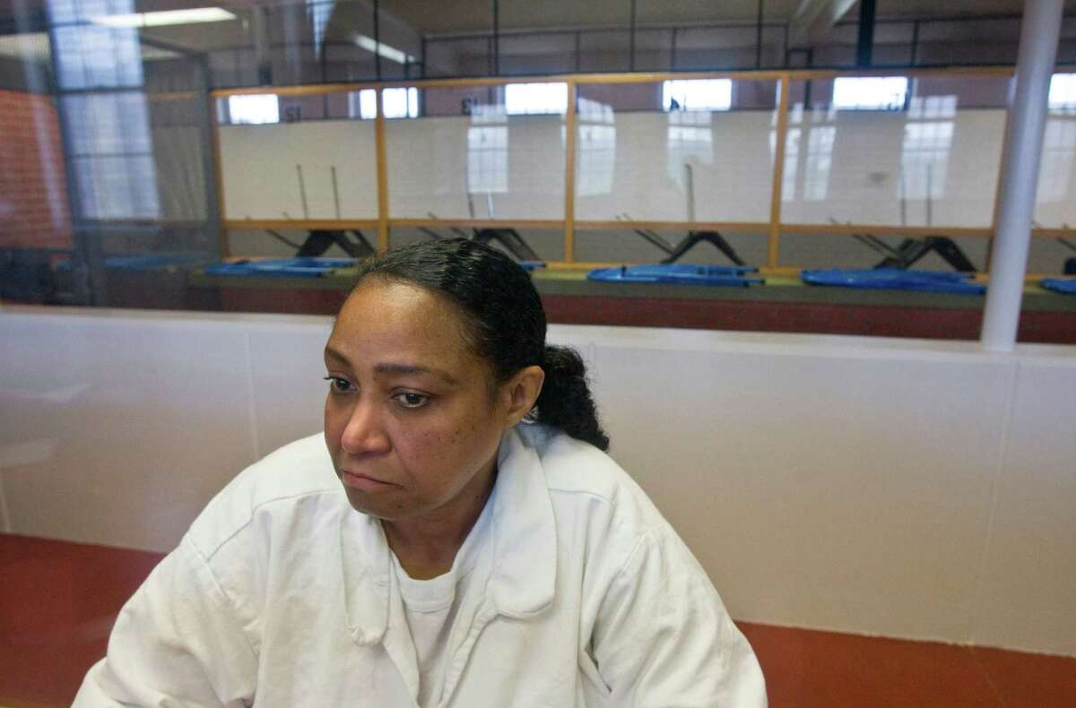 Linda Carty shown in an interview on death row at the Texas Department of Criminal Justice Mountain View Unit in Gatesville. ( Melissa Phillip / Houston Chronicle )