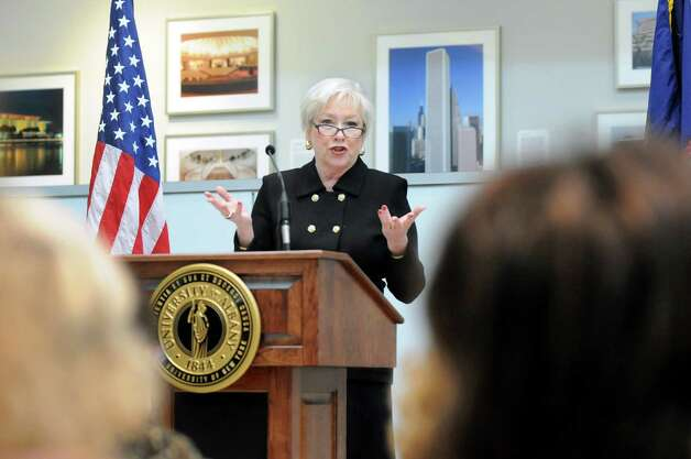 SUNY Chancellor Nancy Zimpher speaks during a news conference to release the 2014 Albany Promise Report Card on Wednesday, Feb. 25, 2015, at UAlbany in Albany, N.Y. The report card offers an update on the progress being made to improve student achievement from cradle to career in the City of Albany. (Cindy Schultz / Times Union) Photo: Cindy Schultz / 00030748A