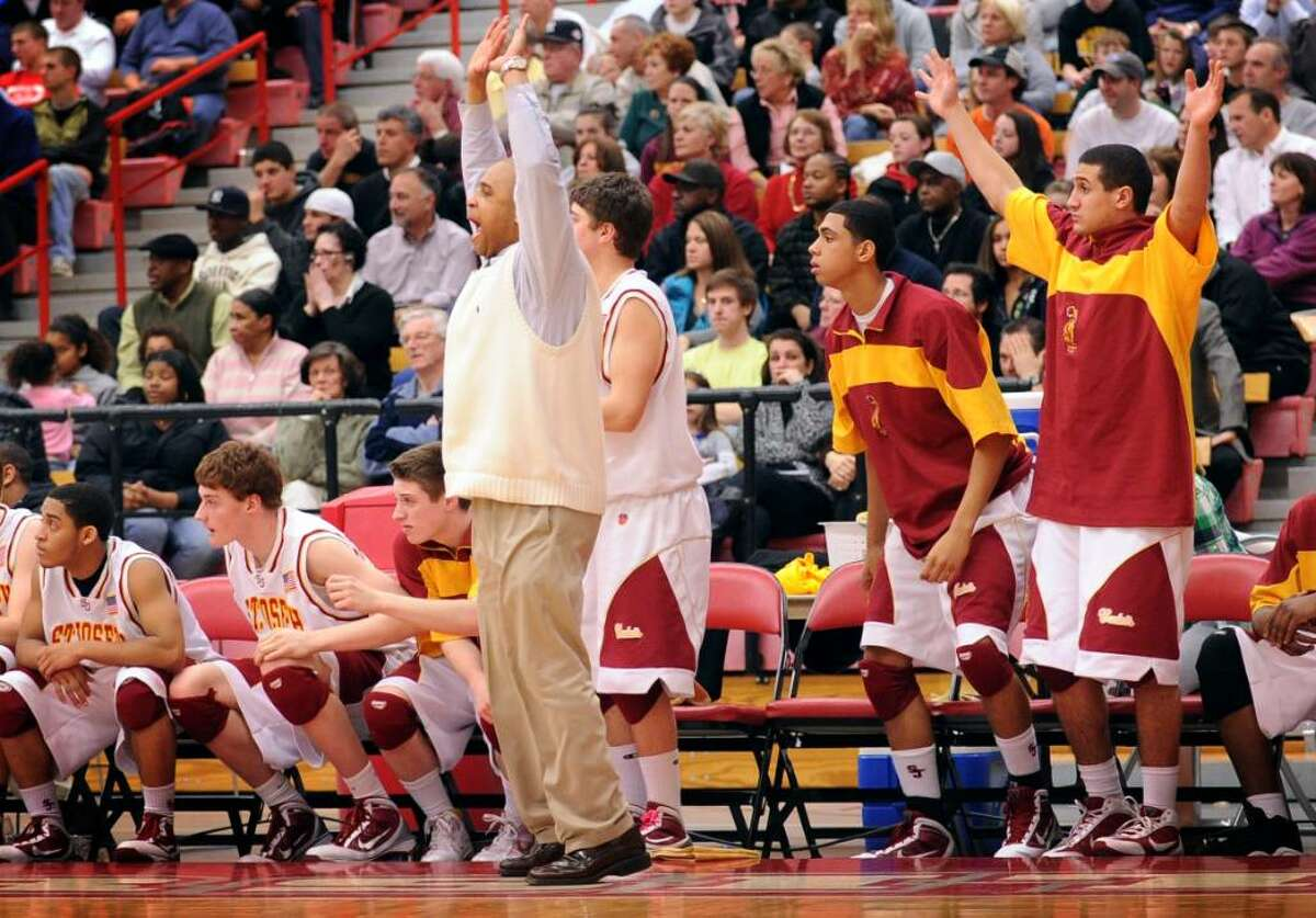 St. Joseph's bench reacts during the FCIAC semi-final game against Stamford Tuesday Mar. 2, 2010 at Sacred Heart Univeresity's Pitt Center.
