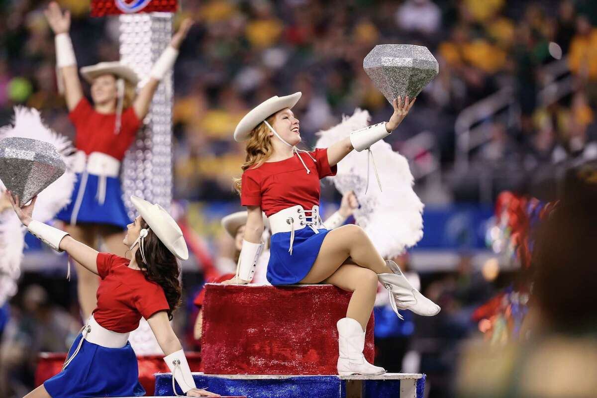 Kilgore Rangerettes perform during halftime of the Baylor Bears and Michigan State Spartans game at the Goodyear Cotton Bowl Classic at AT&T Stadium on January 1, 2015 in Arlington, Texas.