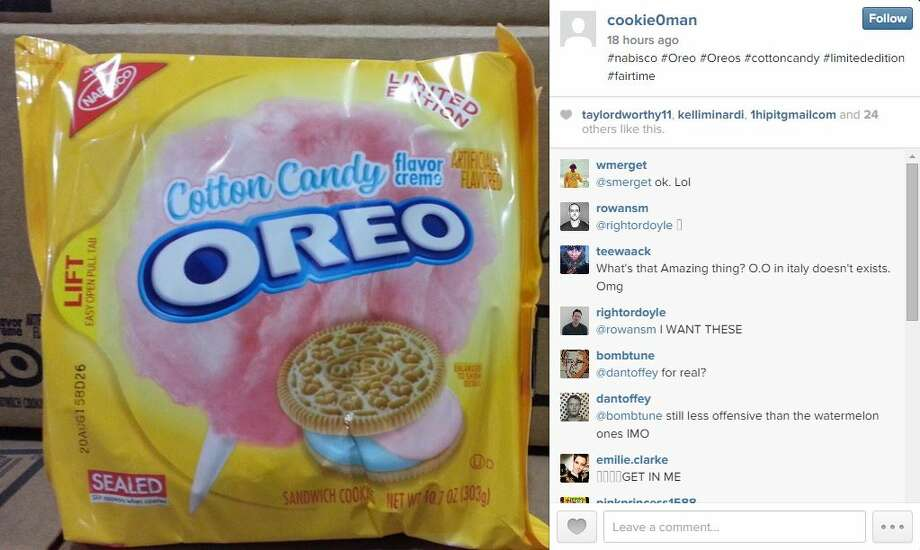 """If photos posted to Instagram can be trusted, cotton candy-flavored Oreos could soon be seen on store shelves next to its mint, peanut butter and, of course, """"Double Stuf"""" kindred.  Instagram user cookie0man published four photos of the alleged limited edition cookie, taken from the back of what appears to be a supply truck. Photo: Screenshot Via Instagram"""