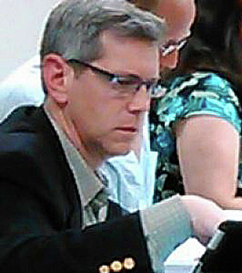 Board of Education member Marc Patten, shown in a photo from a meeting last year, said this week as the panel considered implications of possible redistricting, that for the last two years he did not want to ìgo anywhere near the ëRí word,î but is less sure about that now. He said if redistricting had to be revisited, ìI guess Iím your third member of your subcommittee.î Photo: File Photo / Fairfield Citizen