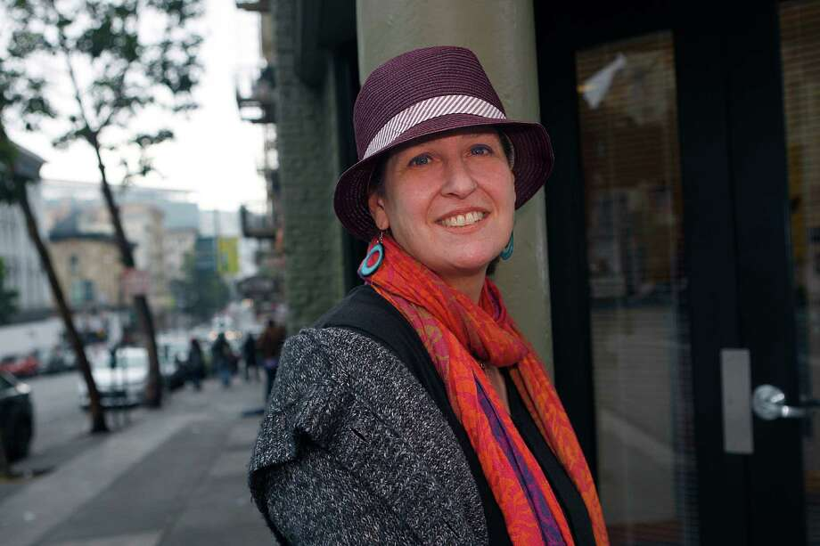 Filmmaker Marjorie Sturm, director of The Cult of JT Leroy stands next to the Tenderloin office she worked as a social worker in San Francisco, Calif., on Friday, January 16, 2015. Photo: Liz Hafalia / The Chronicle / ONLINE_YES