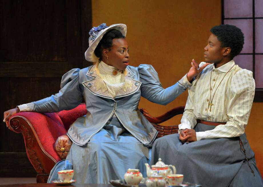 """Prudence (Omoze Idehenre, left) advises Ester (Katherine Renee Turner) about the customs of English settlers in Danai Gurira's play """"The Convert"""" at Marin Theatre Company. Photo: Kevin Berne / Kevin Berne / ONLINE_YES"""