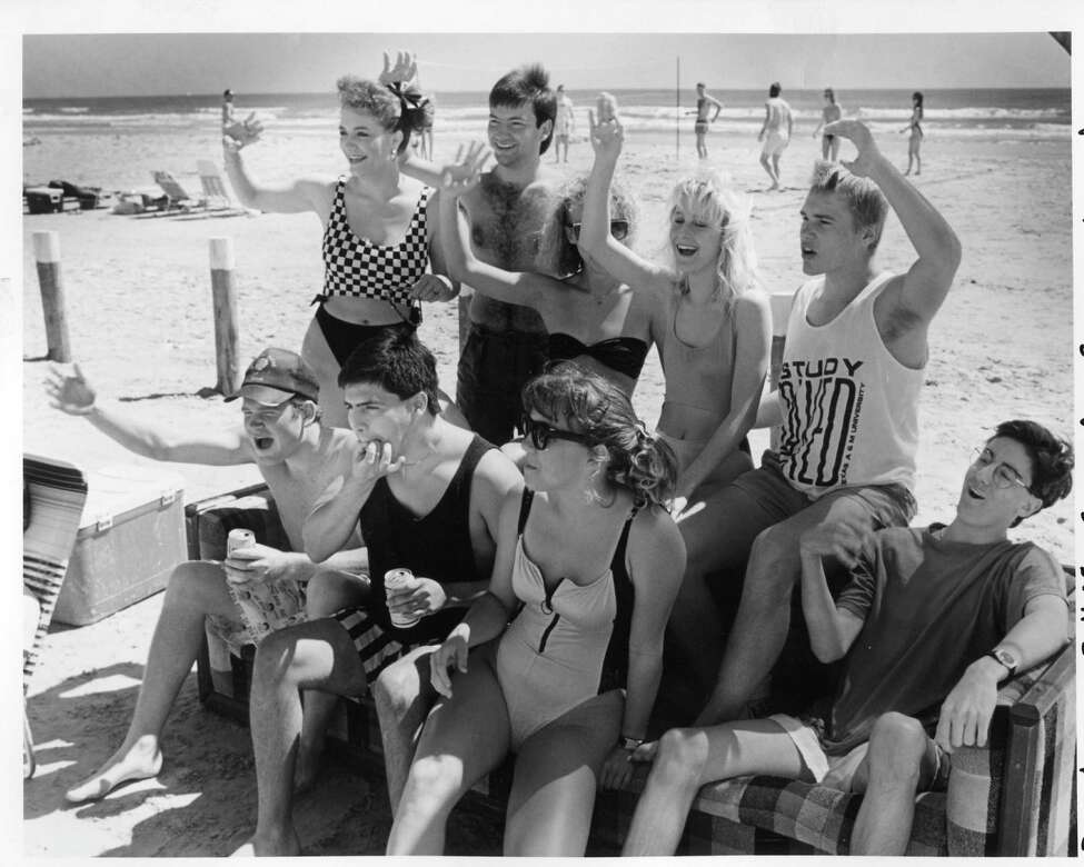The girls are from Cuero, the guys are from Killeen, and it's spring break 1989 at Port Aransas.