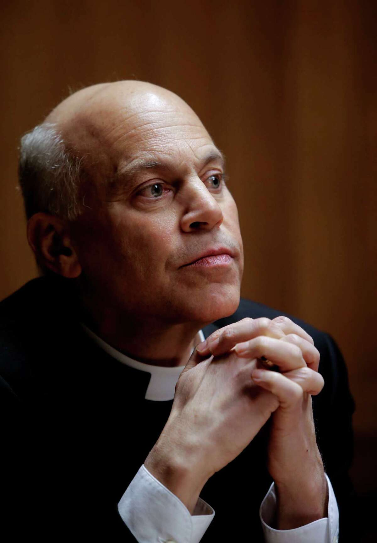 San Francisco Archbishop Salvatore Cordileone meets with the Chronicle's editorial board in February.
