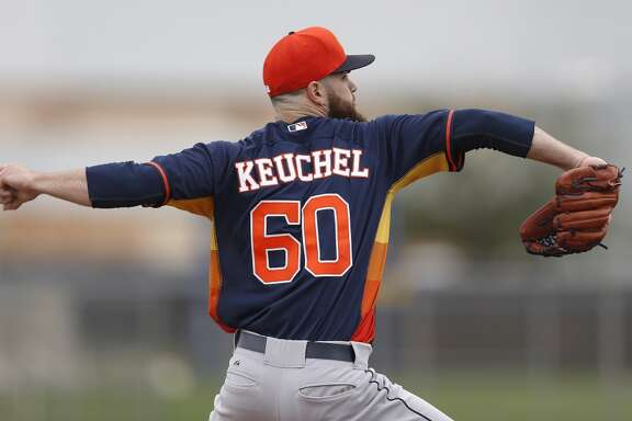 Houston Astros starting pitcher Dallas Keuchel (60) throws live BP during Houston Astros spring training workouts at the Osceola County facility, Thursday, Feb. 26, 2015, in Kissimmee. ( Karen Warren / Houston Chronicle  )