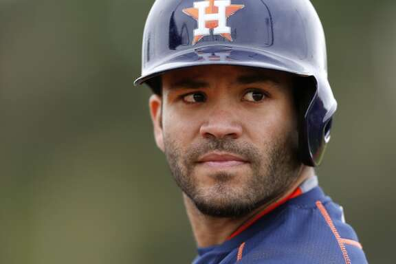 Houston Astros second baseman Jose Altuve (27) waits his turn for batting practice during Houston Astros spring training workouts at the Osceola County facility, Thursday, Feb. 26, 2015, in Kissimmee. ( Karen Warren / Houston Chronicle  )