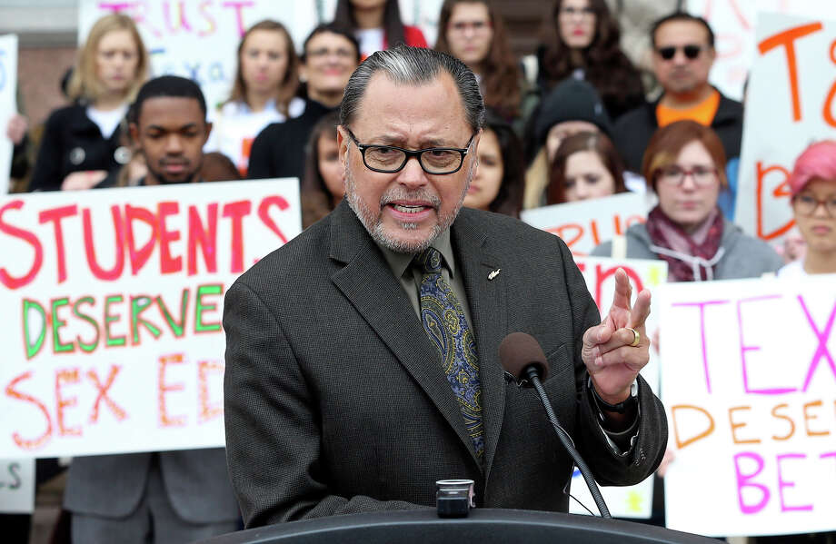 Senator Jose Rodriguez, D-El Paso, speaks in support as college students and abortion rights activists gather on the steps of the State Capitol to demonstrate for their cause on Feb. 26, 2015. Photo: Tom Reel, Tom Reel/	San Antonio Express-News