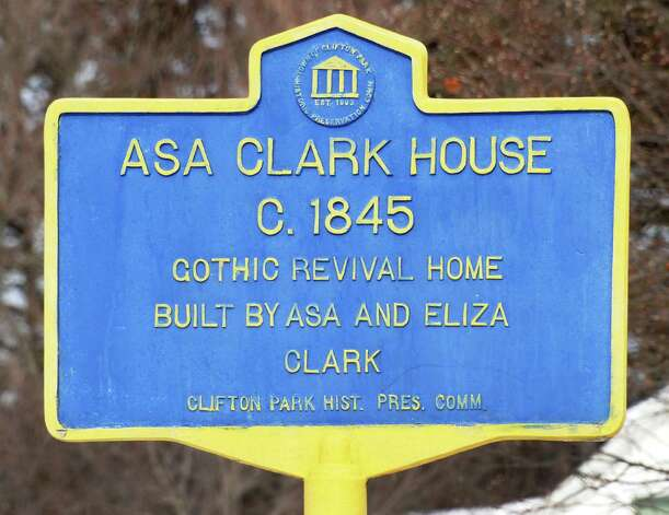 Historic marker at the Asa Clark House at 394 Vischer Ferry Road Tuesday Feb. 24, 2015 in Clifton Park, NY.  (John Carl D'Annibale / Times Union) Photo: John Carl D'Annibale / 00030728B