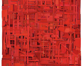 """Matt Gonzalez's """"Came the Abruptness of Fiery Dawn"""" is a found paper collage."""