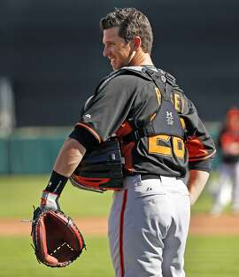 San Francisco Giants' Buster Posey during Spring Training at Scottsdale Stadium in Scottsdale, Arizona, on Wednesday, February 26, 2015.