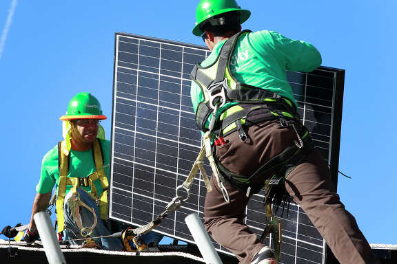 SolarCity says applica tions for its instal lations in the Salt River Project service area have plunged since the utility announced a plan in December to raise the minimum monthly charge for people who generate electricity from solar units.