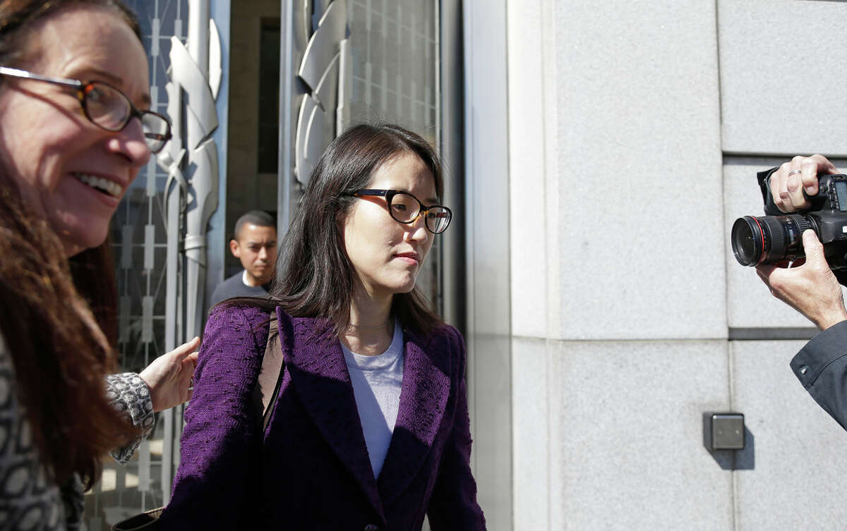Ellen Pao (right) leaves the San Francisco Civic Center Courthouse along with her attorney, Therese Lawless, during a lunch break in her trial Tuesday.