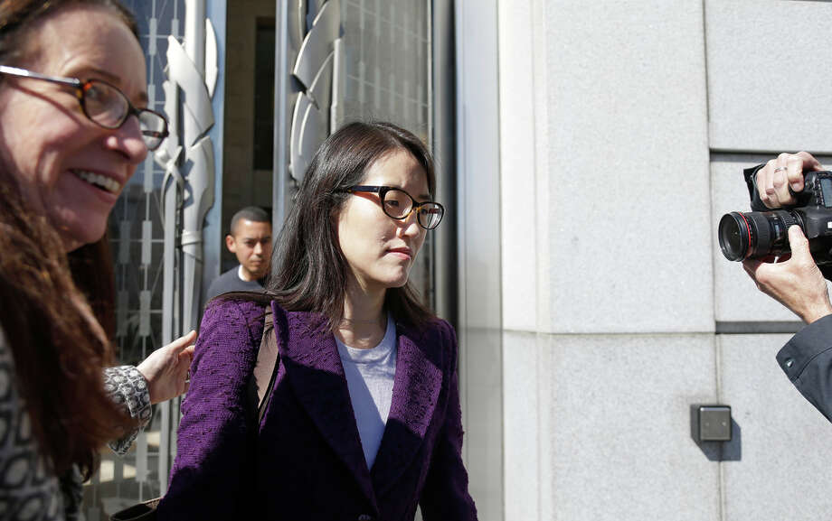 Ellen Pao (right) leaves the San Francisco Civic Center Courthouse along with her attorney, Therese Lawless, during a lunch break in her trial Tuesday. Photo: Eric Risberg / Associated Press / AP