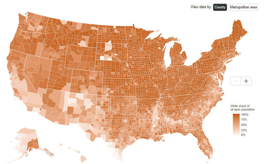 This map shows the populations of the share of white residents of all ages in the counties across the United States in 2013.Source: BrookingsInstitute Photo: BrookingsInstitute