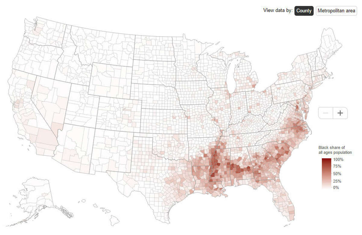 This map shows the populations of the share of black residents of all ages in the counties across the United States in 2013. Source:BrookingsInstitute