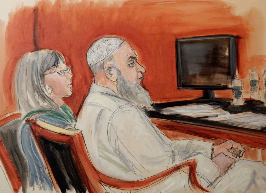 In this Jan. 20 courtroom sketch, Khaled al-Fawwaz is the de- fendant in the 1998 embassy bombings in Kenya and Tanzania. Photo: Elizabeth Williams / Associated Press / FR142054 AP