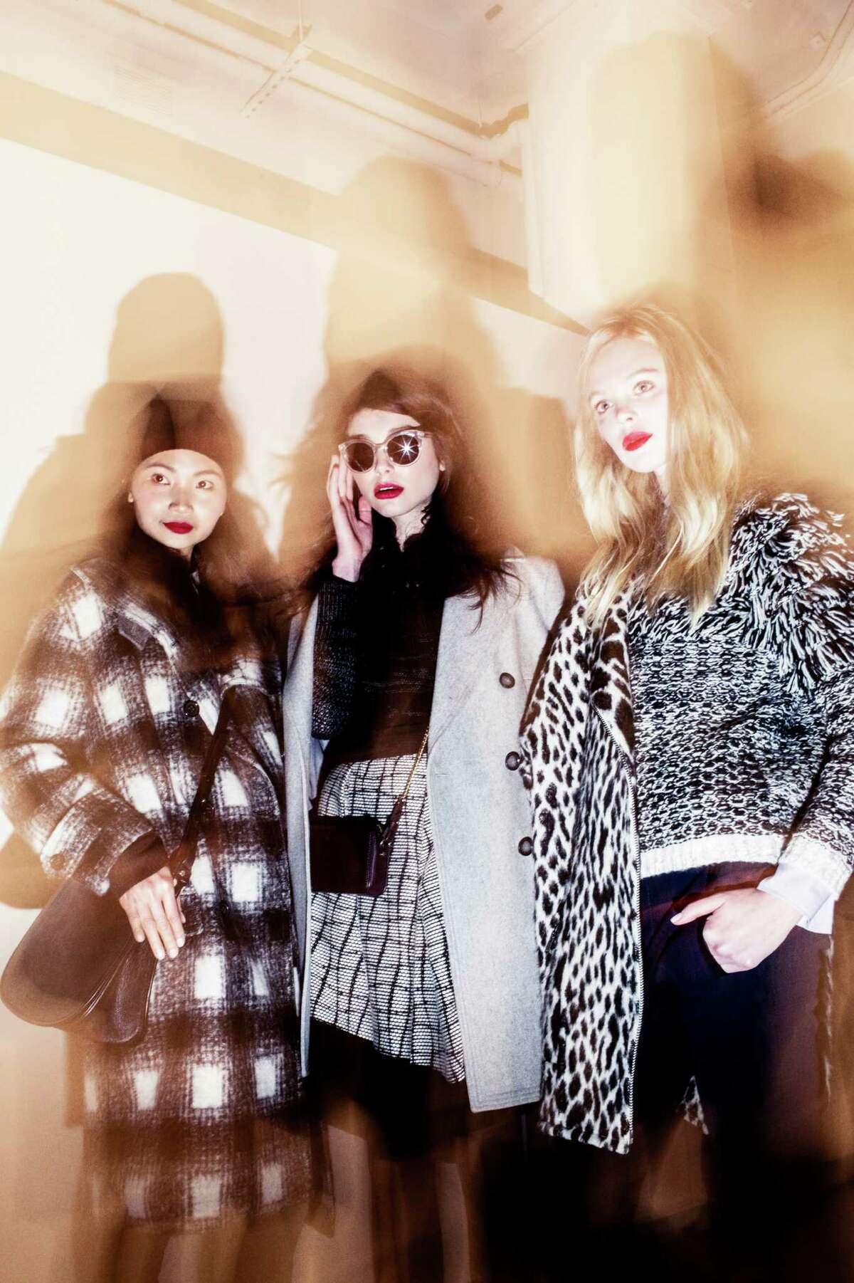 Models in fall 2015 looks at Banana Republic's fashion week presentation Feb. 14 at Glasgow Caledonian University in Manhattan.