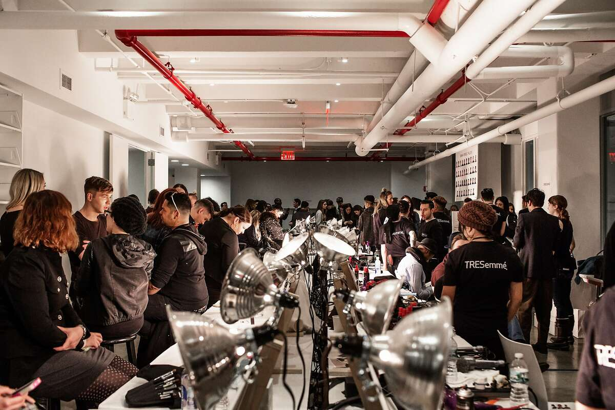 Manhattan, New York - A scene from backstage during preparations for the Banana Republic Presentation at Glasgow Caledonian University for the Mercedes-Benz New York Fashion Week Fall 2015. Saturday, February 14, 2014.