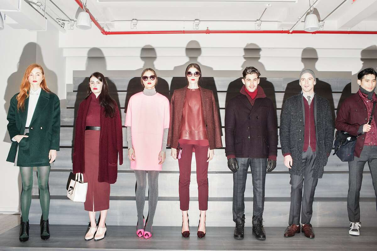 Manhattan, New York - A group of models pose during the Banana Republic Presentation at Glasgow Caledonian University for the Mercedes-Benz New York Fashion Week Fall 2015. Saturday, February 14, 2014.