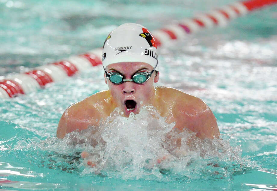 Greenwich swimmer Thomas Dillinger does the breaststroke in 200 IM event that he won during the FCIAC Boys Swimming Championship at Greenwich High School, Conn., Thursday, Feb. 26, 2015. Greenwich High School won the championship and Dillinger went on to win the 100 yard breaststroke event with a FCIAC record time of 55.89. Photo: Bob Luckey / Greenwich Time