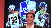Major League Lacrosse MVP Casey Powell was part of the contingent promoting the league's June all-star game on Thursday at BBVA Compass Stadium.
