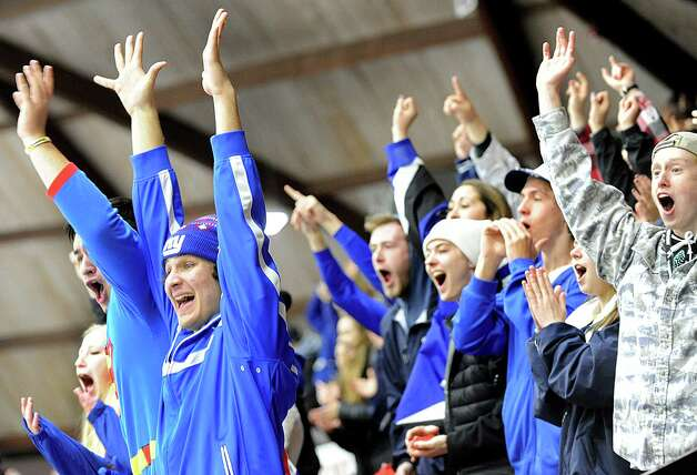 Saratoga Springs' student section cheers when their team scores after the starting faceoff in the Division I hockey final against Burnt Hills on Thursday, Feb. 26, 2015, at Union College in Schenectady, N.Y. (Cindy Schultz / Times Union) Photo: Cindy Schultz / 00030761A