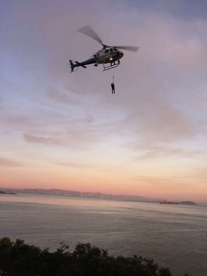 A vandalism suspect was lifted to safety by a California Highway Patrol helicopter after scrambling down a waterfront cliff to avoid arrest near Fort Baker in Marin County on Thursday, officials said. Photo: Courtesy / National Park Service / ONLINE_YES