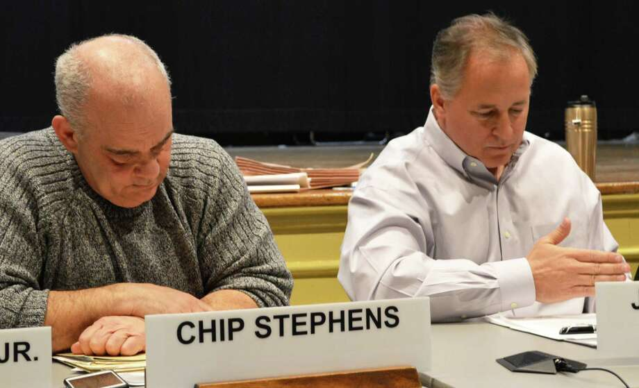 Planning and Zoning Commission Chairman Chip Stephens, left, and Vice Chairman Jack Whittle had different perspectives on a proposed amendment that would require permits for use of all commercial properties in town. Photo: Jarret Liotta / Westport News