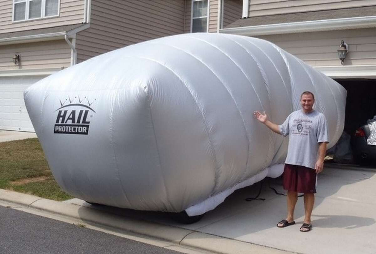 The Hail Protector is an inflatable cover for vehicles that will block projectiles such as hail from damaging the vehicle's exterior.