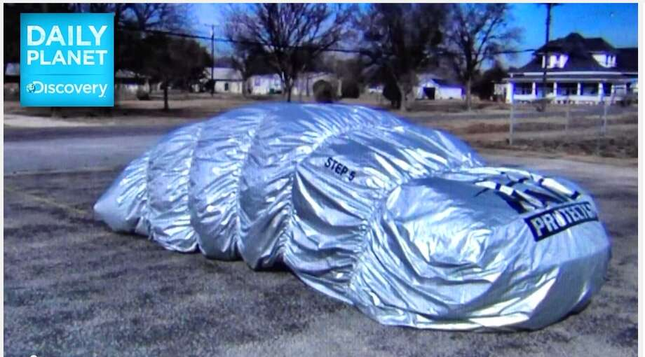 Here are 10 inventive ways to avoid hail damage:1. Buy a Hail ProtectorThis inflatable car cover blocks projectiles like hail from damaging the vehicle's exterior and alerts owners of an approaching storm — plus, it looks pretty cool. Read more here. Photo: Courtesy Photo/Hail Protector