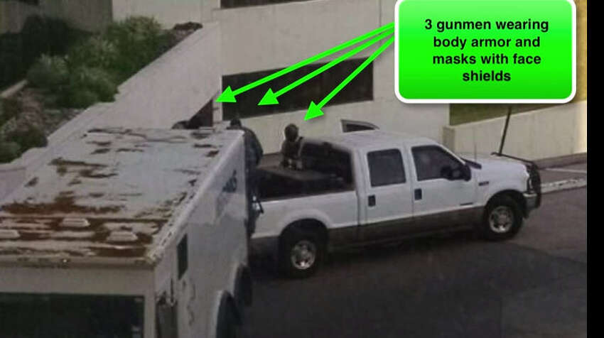 The Attack This image, released by the FBI, shows three men in face masks as they pulled off a bold daylight robbery of a Brinks armored truck. A guard was killed in the Feb. 12 in incident.