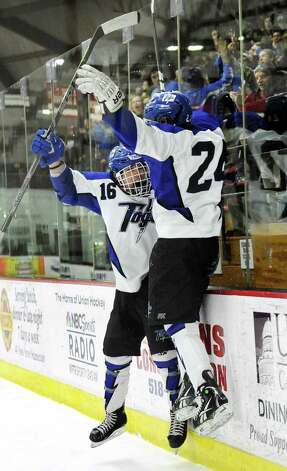 Saratoga Springs' Jake Fauler, right, celebrates a first-period with Cam McCall during their Division I hockey final against Burnt Hills on Thursday, Feb. 26, 2015, at Union College in Schenectady, N.Y. (Cindy Schultz / Times Union) Photo: Cindy Schultz / 00030761A